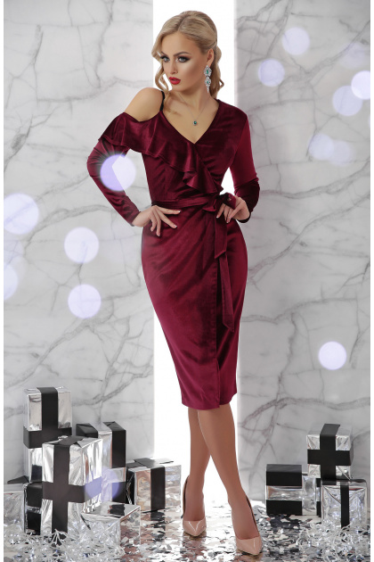 изумрудное вечернее платье с запахом. платье Валерия д/р. Цвет: бордо