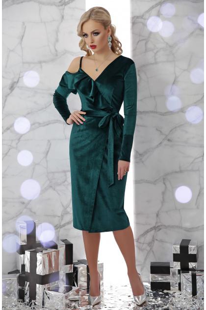 изумрудное вечернее платье с запахом. платье Валерия д/р. Цвет: изумруд