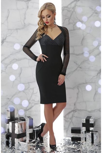 бежевое платье с декольте. платье Патриция д/р. Цвет: черный