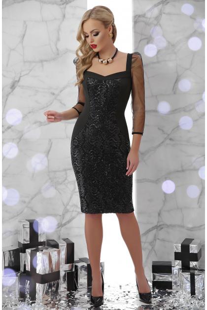 коктейльное платье с пайетками. платье Памела д/р. Цвет: черный