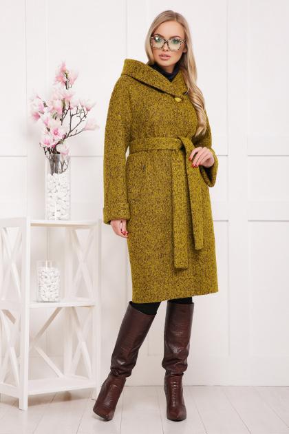 коричневое пальто на зиму. Пальто П-304-100 з. Цвет: 1222-карри