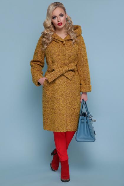 коричневое пальто на зиму. Пальто П-304-100 з. Цвет: 1223-горчица