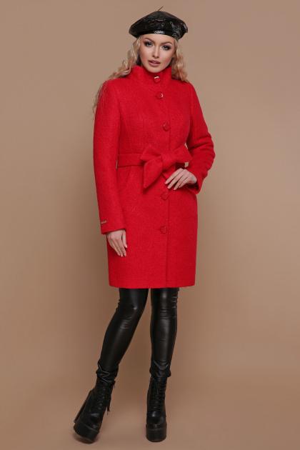 розовое пальто на пуговицах. пальто П-332 з. Цвет: 1201-красный