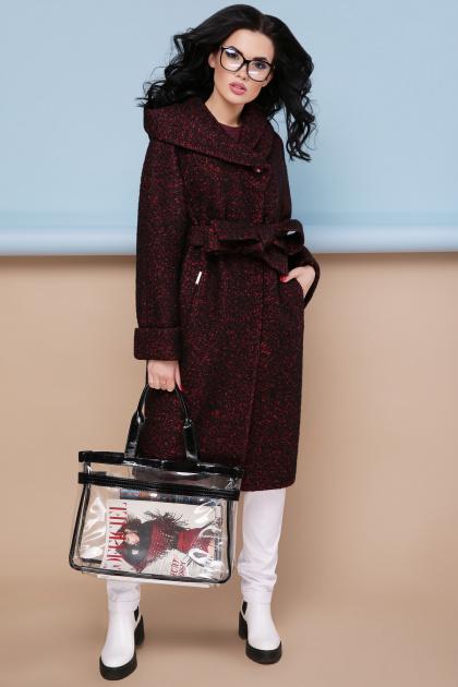 коричневое пальто на зиму. Пальто П-304-100 з. Цвет: 1216-бордо