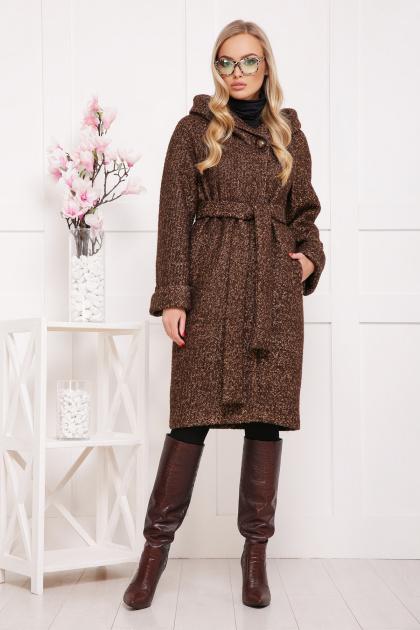 коричневое пальто на зиму. Пальто П-304-100 з. Цвет: 1224-коричневый