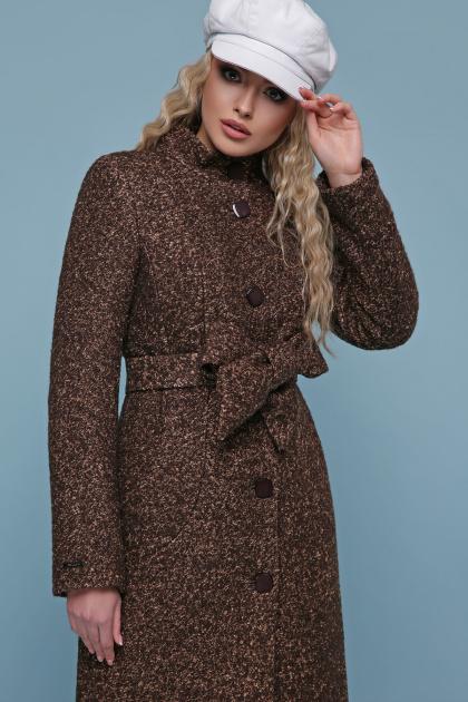 розовое пальто на пуговицах. пальто П-332 з. Цвет: 1224-коричневый