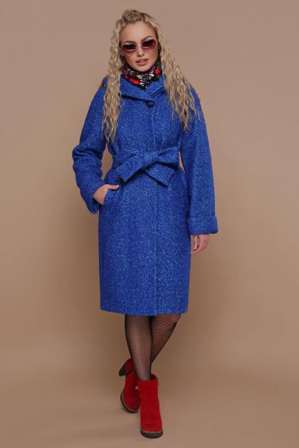 коричневое пальто на зиму. Пальто П-304-100 з. Цвет: 1226-электрик