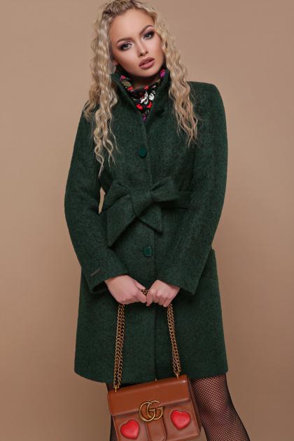 розовое пальто на пуговицах. пальто П-332 з. Цвет: 1225-темно-зеленый