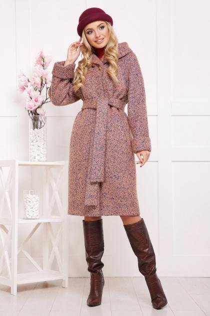 коричневое пальто на зиму. Пальто П-304-100 з. Цвет: 1208-розовый