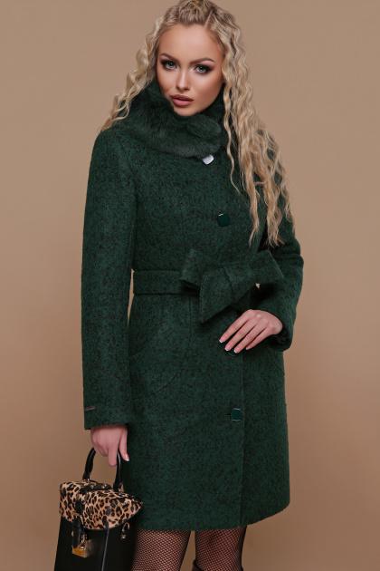 зимнее пальто с мехом. Пальто П-332 зм. Цвет: 1225-темно-зеленый