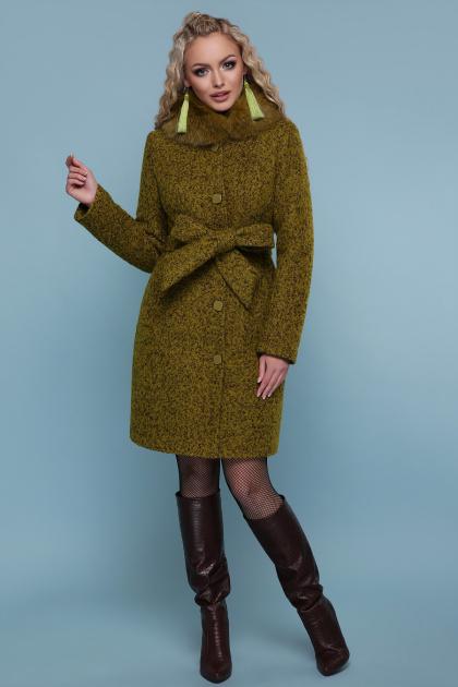 зимнее пальто с мехом. пальто П-332 зм. Цвет: 1222-карри