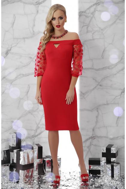 платье красного цвета с открытыми плечами. платье Розана д/р. Цвет: красный