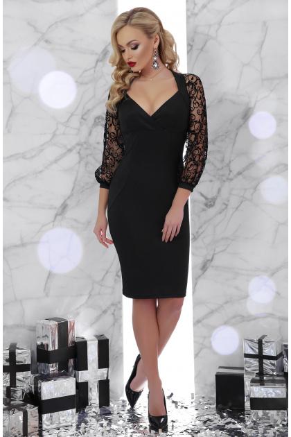 черное платье с кружевными рукавами. платье Флоренция д/р. Цвет: черный