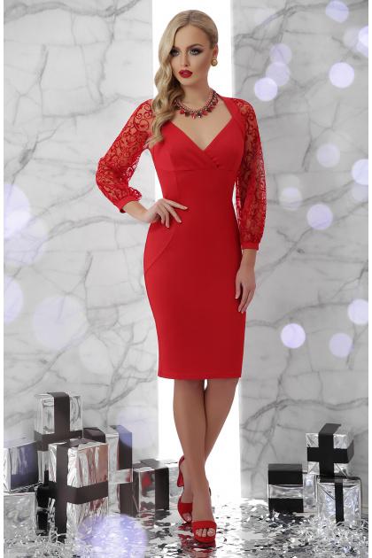 черное платье с кружевными рукавами. платье Флоренция д/р. Цвет: красный