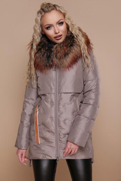бежевая куртка с капюшоном. Куртка 18-073. Цвет: кофе