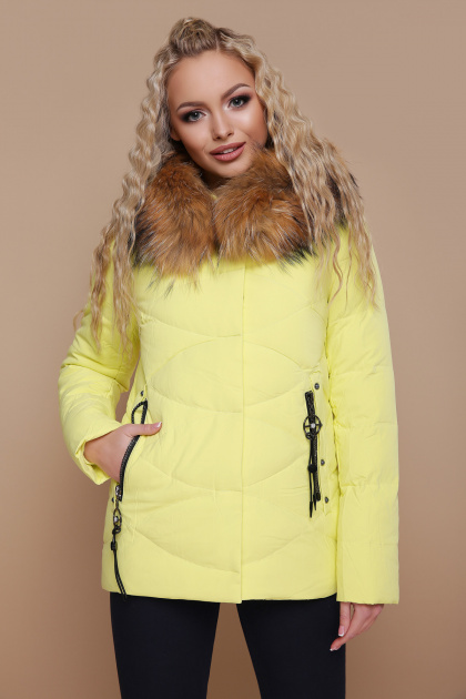 короткая куртка цвета электрик. Куртка 18-129. Цвет: желтый