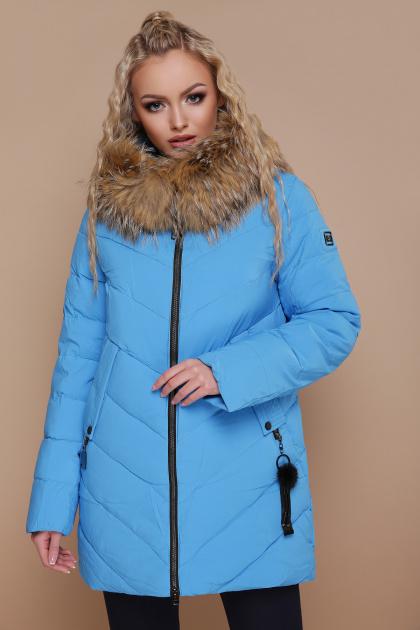 синяя куртка с меховой опушкой. Куртка 18-182. Цвет: голубой