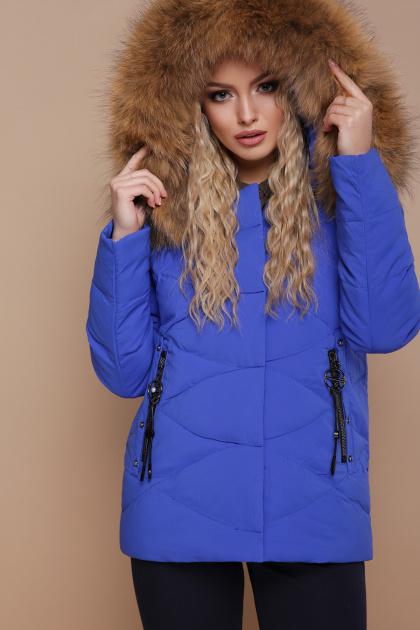 укороченная синяя куртка. Куртка 18-129. Цвет: электрик