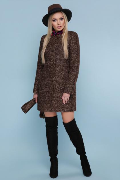 черное пальто на весну. пальто П-337. Цвет: 1224-коричневый
