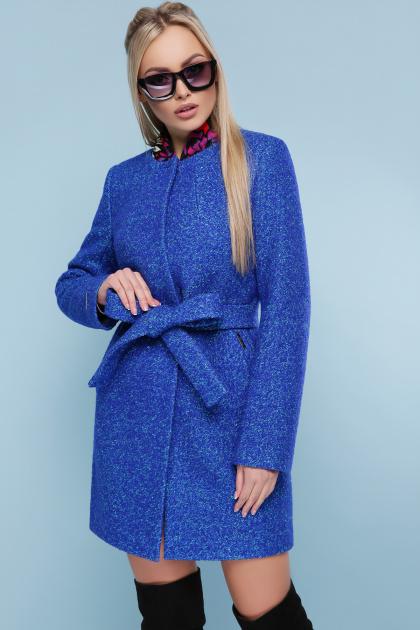 ярко-синее пальто без воротника. пальто П-337. Цвет: 1226-электрик