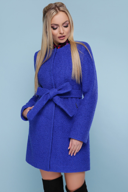 ярко-синее пальто без воротника. пальто П-337. Цвет: 1217-ультрамарин