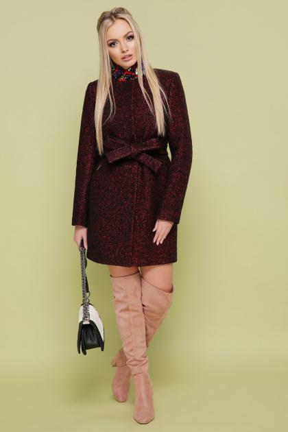 женское пальто цвета электрик. пальто П-337. Цвет: 1216-бордо