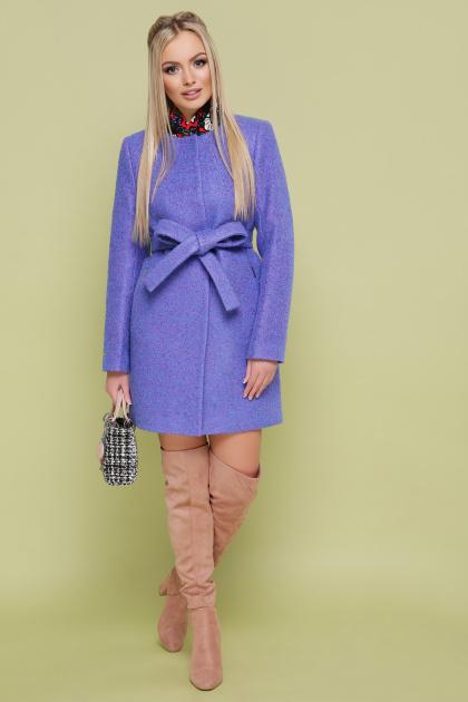 ярко-синее пальто без воротника. пальто П-337. Цвет: 1212-электрик