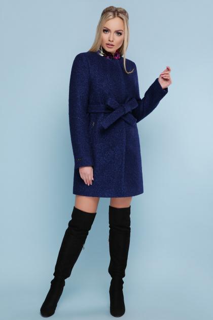 черное пальто на весну. пальто П-337. Цвет: 1227-темно-синий