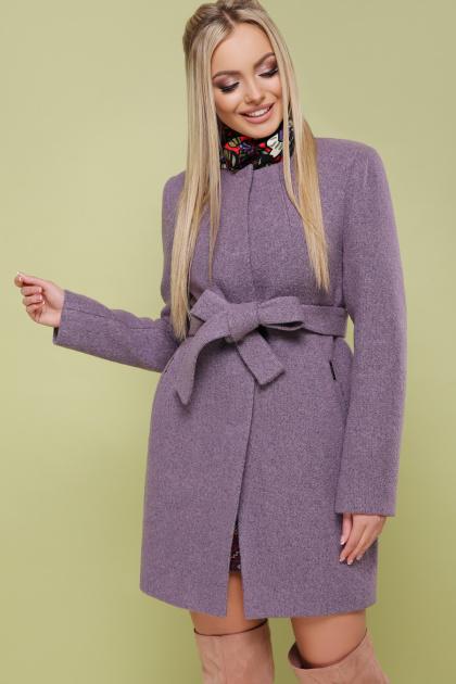 ярко-синее пальто без воротника. пальто П-337. Цвет: сирень