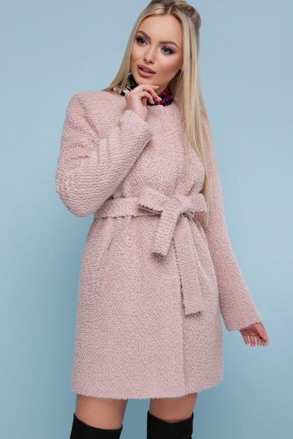 ярко-синее пальто без воротника. пальто П-337. Цвет: 1605-розовый