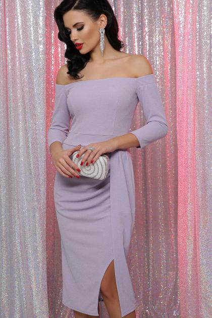 сиреневое платье с открытыми плечами. платье Амелия д/р. Цвет: св. сиреневый