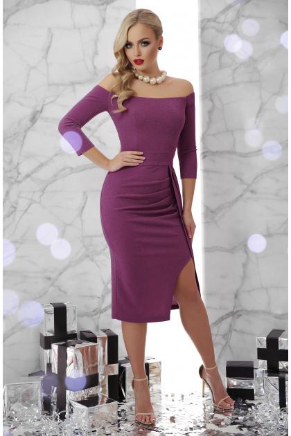 сиреневое платье с открытыми плечами. платье Амелия д/р. Цвет: т. сиреневый