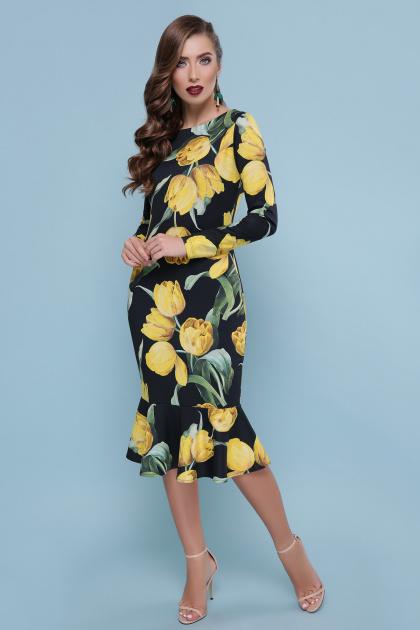 платье с цветочным принтом и воланом внизу. Тюльпаны желтые платье Фаина д/р. Цвет: черный