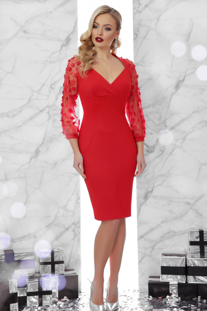 вечернее красное платье футляр. платье Флоренция 2 д/р. Цвет: красный