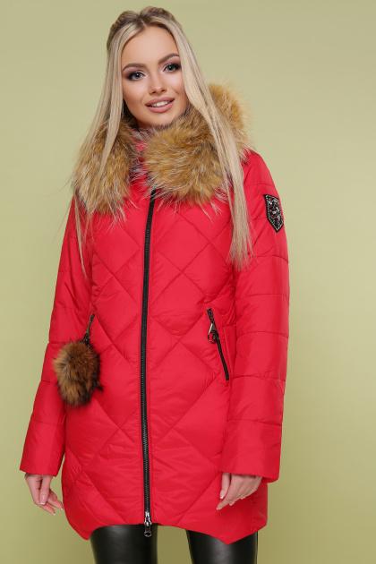 красная куртка с мехом. Куртка 890. Цвет: красный