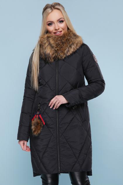 черная куртка с меховой опушкой. Куртка 812. Цвет: черный