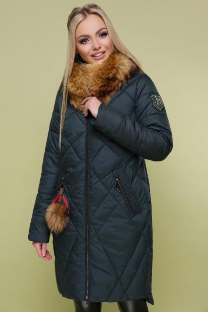 черная куртка с меховой опушкой. Куртка 812. Цвет: зеленый