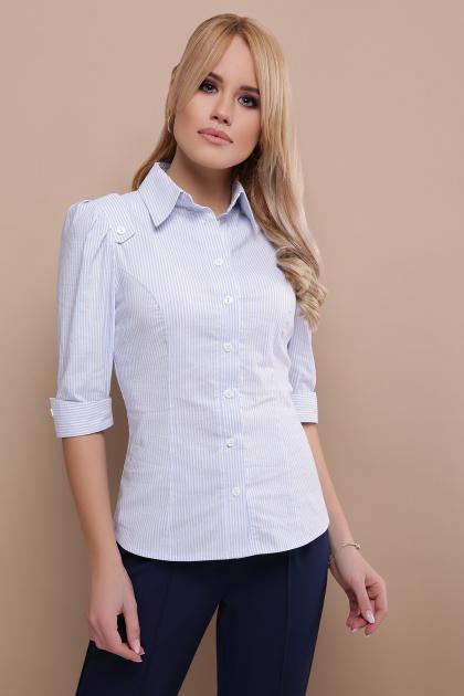 . блуза Камила к/р. Цвет: голубая м.полоска