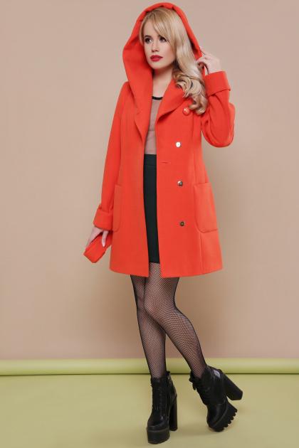 бежевое полупальто с капюшоном. пальто П-3к. Цвет: оранжевый