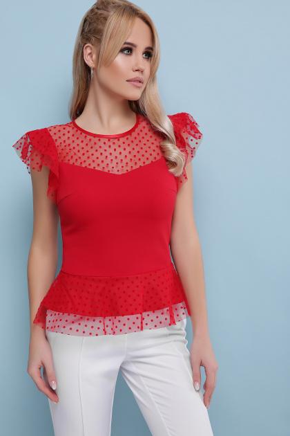 черная блузка с баской. блуза Лайза б/р. Цвет: красный