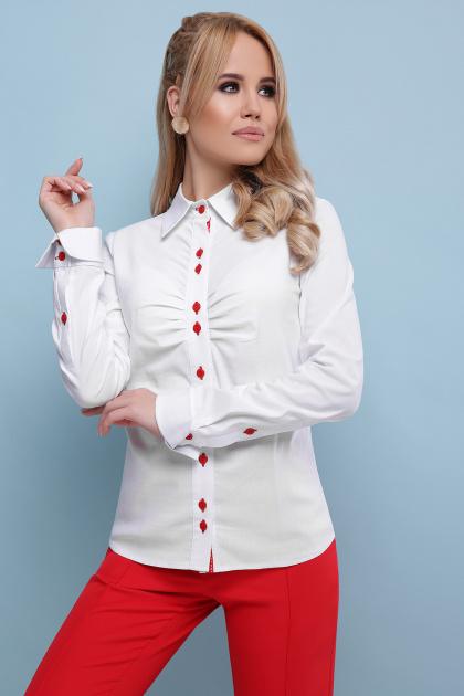 . блуза Эвита д/р. Цвет: белый-красная отделка