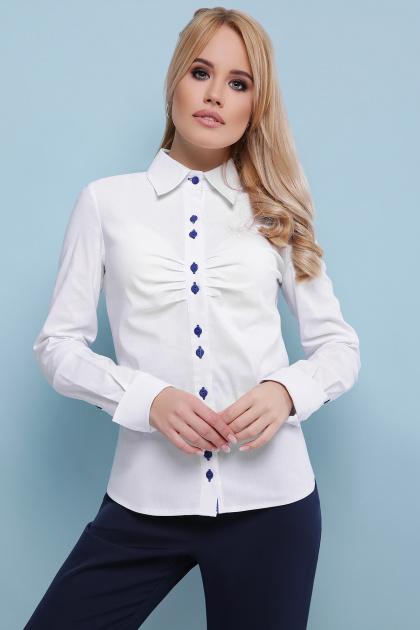. блуза Эвита д/р. Цвет: белый-электрик отделка