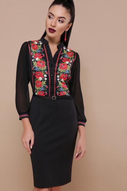 облегающее платье с маками. Маки платье Лилианна д/р. Цвет: черный