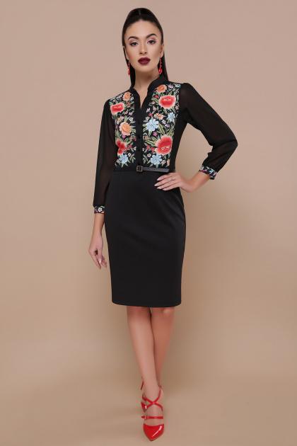черное платье с цветами. Розы платье Лилианна д/р. Цвет: черный
