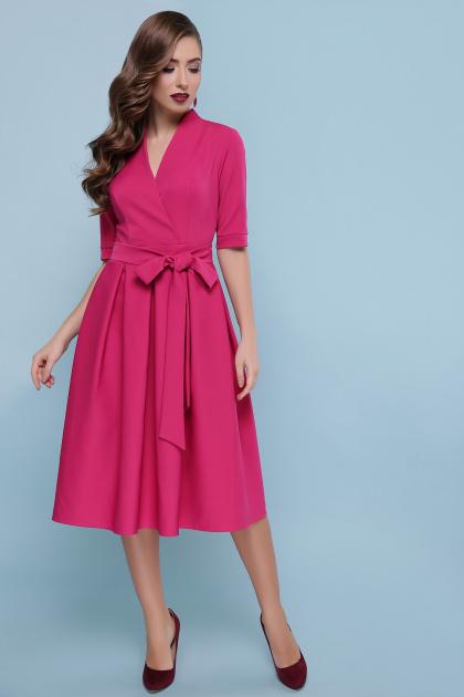 горчичное платье с пышной юбкой. платье Ангелина к/р. Цвет: фуксия