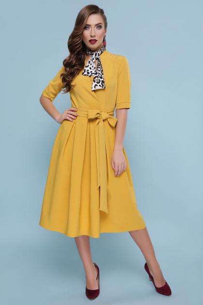 горчичное платье с пышной юбкой. платье Ангелина к/р. Цвет: горчица