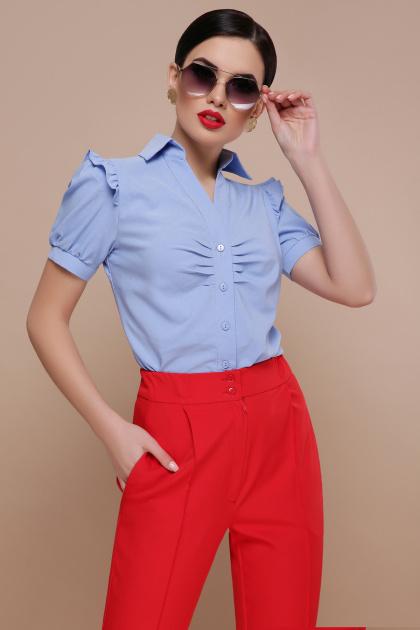 голубая блузка с рюшами. блуза Маргарита к/р. Цвет: голубой