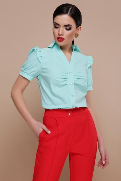 голубая блузка с рюшами. блуза Маргарита к/р. Цвет: мята