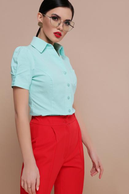 персиковая блузка с коротким рукавом. блуза Эльза к/р. Цвет: мята