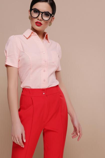 персиковая блузка с коротким рукавом. блуза Эльза к/р. Цвет: персик